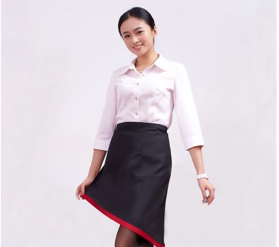 日式简约撞色时尚家居围裙9238红色/黑色半身女款工作服